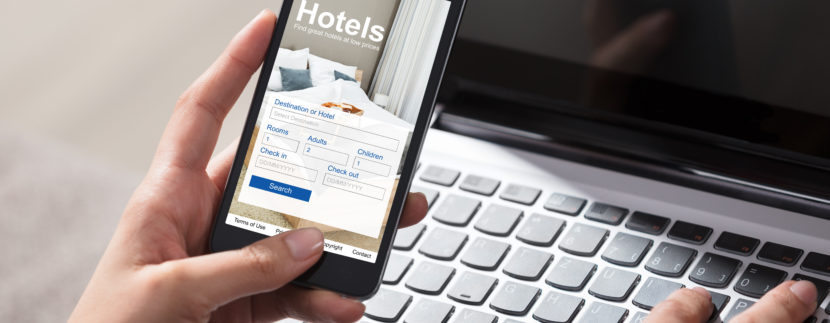 Woman browsing a hotel's website